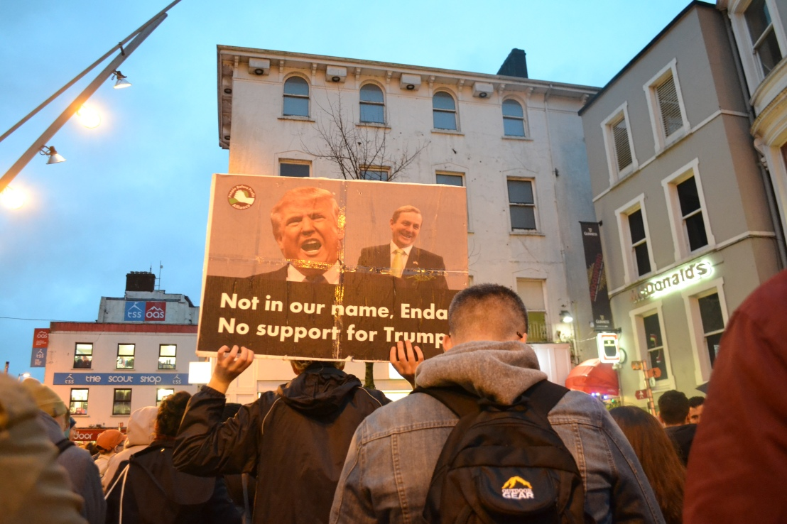 Enda Kenny Donald Trump Anti Trump Protest